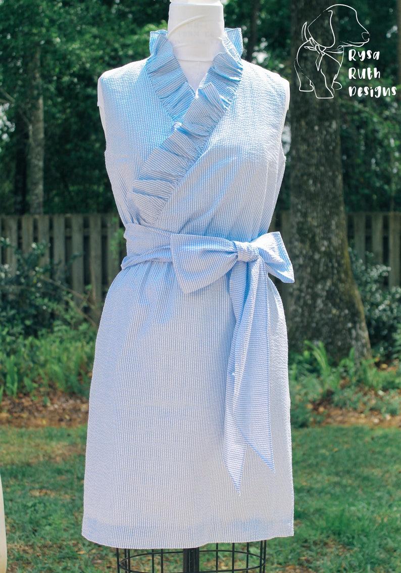 Plus Size Ruffle V-Neck Seersucker Wrap Women\'s Dress with | Etsy