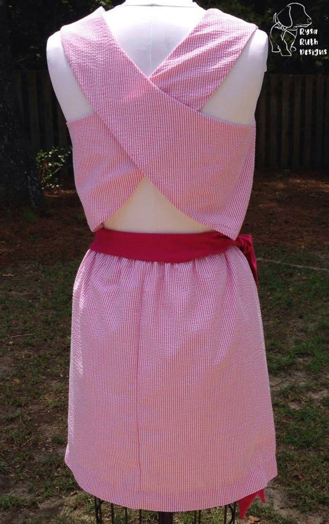 Plus Size Cross Back Seersucker Dress Emma Etsy