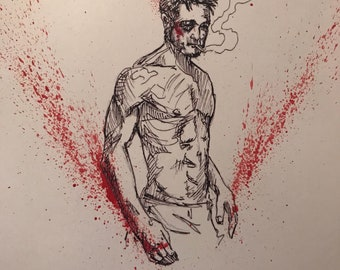 Fight Club Hand Blood Spattered Signed Print