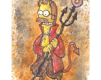 Simpsons Horror Devil Flanders 5x7 Signed Art Print