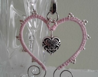 Pink tatted lace wire heart jewelry pendant necklace