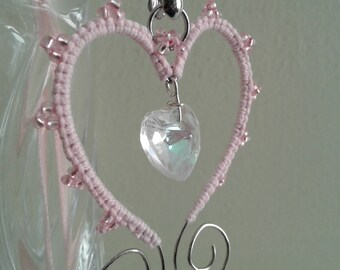 Pink tatted lace and wire pendant necklace with glass beads