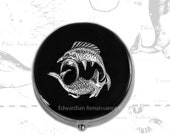 Pisces Pill Box Inlaid in Hand Painted Glossy Black Enamel Neo Victorian Zodiac Inspired Personalized and Color Options