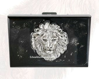 RFID Metal Accordion Wallet Lion Head Inlaid in Hand Painted Black Enamel  with Silver Splash Design Custom Colors and Personalized Options