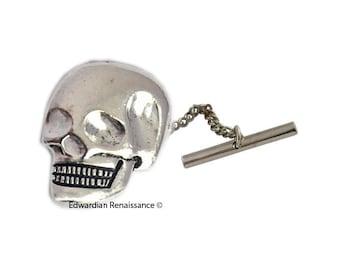 Skull Head Tie Pin Gothic Victorian Inspired Brooch Pin