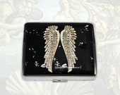 Silver Wings 7 Day Pill Box Inlaid in Hand Painted Enamel Black with Silver Splash Design with Personalized and Color Options