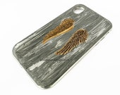 Angel Wings Iphone Case or Galaxy Cover Inlayed in Hand Painted Metallic Silver Enamel Art Nouveau Design with Color Options