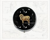 Aries Pill Box Inlaid in Hand Painted Glossy Black Enamel Neo Victorian Zodiac Inspired Personalized and Color Options