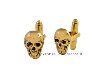 Skull Head Cuff Links Gothic Victorian Antique Gold Vintage Inspired Skeleton with Tie Pin and Tie Clip Set Options