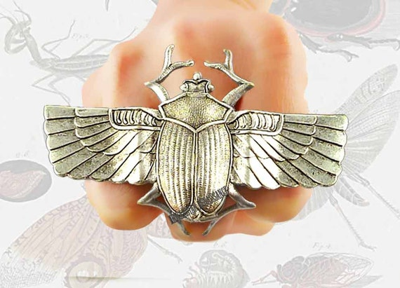 Fly bumble bee thick gold band ring insect oddities steampunk scarab