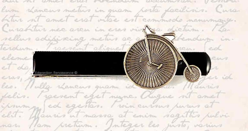 Bicycle Tie Bar Clip Inlaid in Hand Painted Black Glossy Enamel Large Slide Tie Accent Neo Victorian Big Wheel Bike Custom Colors Available