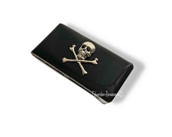 Skull and Crossbones Money Clip Gothic Inspired Inlaid in Hand Painted Black Enamel with Personalized and Color Option