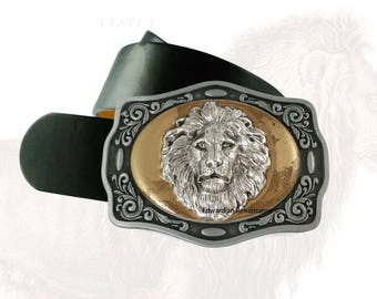 Antique Silver Lion Head Belt Buckle Inlaid in Hand Painted Glossy Gold Enamel Neoclassic Safari Metal Buckle with Assorted Color Options