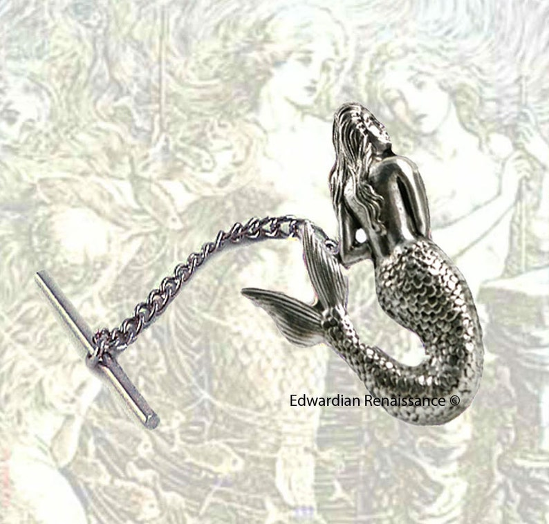 Mermaid Tie Pin Victorian Nautical Tie Tack Pin with Bar and Chain Siren  Fantasy Inspired Tie Accent
