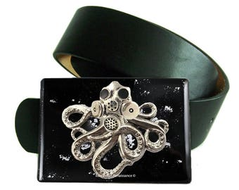 Octopus with Gas Mask Belt Buckle Inlaid in Hand Painted Glossy Enamel Black with Silver Splash Design Victorian Industrial Inspired