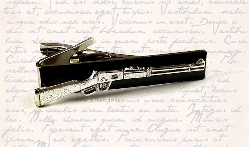 Antique Silver Winchester Rifle Tie Clip Hunting Shooter Tie Bar Accent Vintage Style Gun Clip