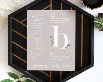 Custom Personalized Anniversary Wedding Couples Infographic Stats Sign
