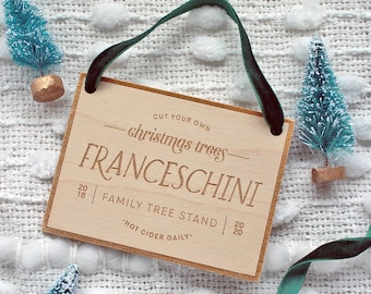 Personalized Customized Family Name Christmas Tree Farm Sign Wooden Ornaments for newlyweds, new baby, families, couples