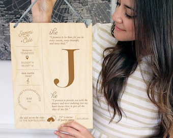 Custom Personalized Wooden Anniversary Wedding Couples Infographic Stats Sign