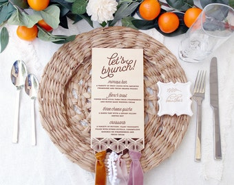 Wooden Boho Art Deco Geometric Menu For Your Wedding, Bridal Shower, Baby shower or Elegant Event With or With Out Ribbon