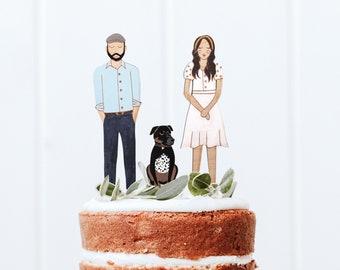 Custom Wooden Portrait Couple Wedding Cake Topper Yellow Heart Art