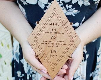 Wooden Boho Art Deco Geometric Menu For Your Wedding, Bridal Shower, Baby shower or Elegant Event