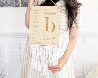 Custom Personalized Wooden Anniversary Wedding Couples Infographic Stats Sign With Boho Fringe