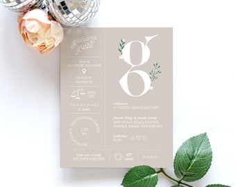 Custom Personalized Paper Birth Stat Infographic Sign For Nursery and Children's Room