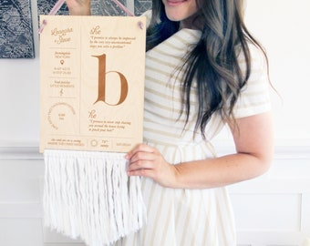 Custom Personalized Wooden Children's Infographic Birth Stats Sign With Boho Fringe