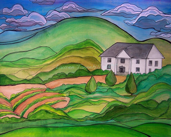 8x10 Giclee Print of Contemporary Farmhouse, Homestead in the Hill Art by Lauren Tannehill ART