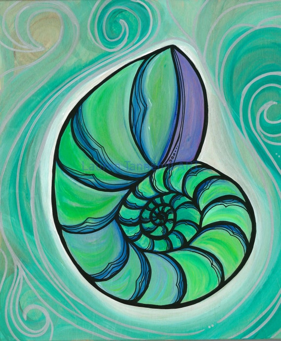 8x10 Giclee Print of Glowing Serene Ocean Nautilus Shell Swirls in the Sea by Lauren Tannehill ART