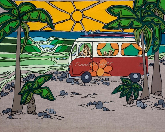 8x10 Giclee Print of Surf Mama with Kids at the Beach in VW Bus by Lauren Tannehill ART