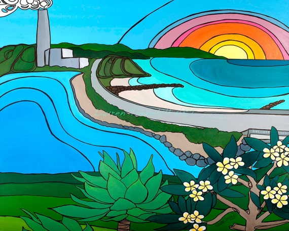 Canvas Print Sunset over Coast Hwy. Carlsbad California Surf Art by Lauren Tannehill ART