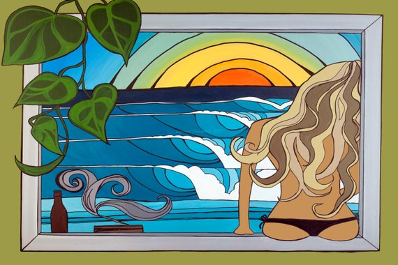 8x10 Paper Print Giclee Print Best Seller! Surf Art, Woman in the Window and Waves by Lauren Tannehill ART