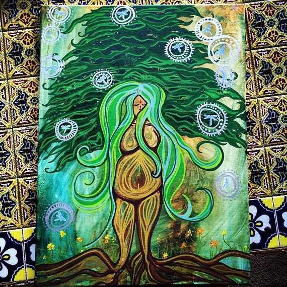 Earth Goddess Birth Art Devine Feminine Pregnancy Empowering Birth and Labor Art by Lauren Tannehill ART