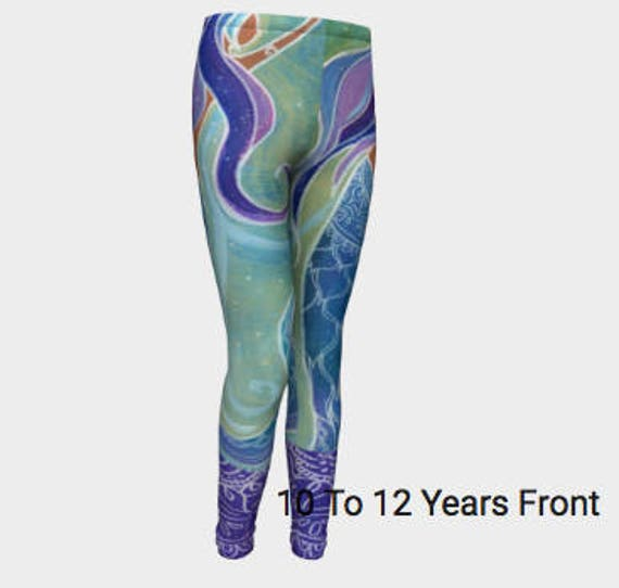 YOUTH Mermaid Leggings  4/5T-10/12 Youth, Little Girls Original design by Lauren Tannehill Art