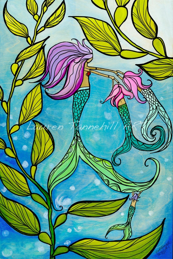 20x30 Canvas Print Mermaid Mama with her Babies Ocean Art by Lauren Tannehill ART