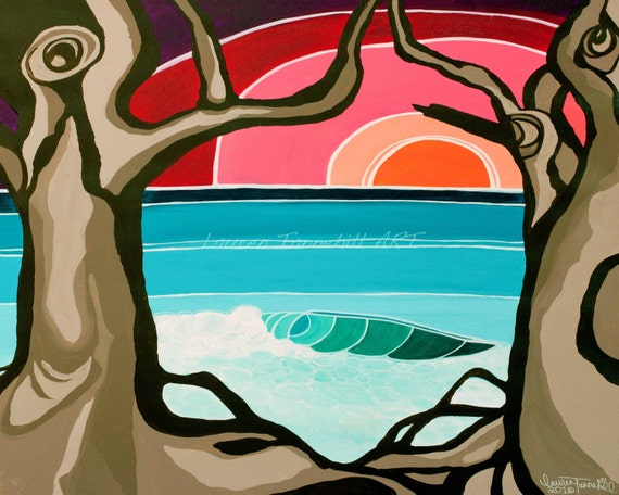 8x10 Giclee Print of Lonely LeftsBright Bold Surf Art, Sunset through the Trees, by Lauren Tannehill ART