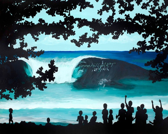 8x10 Giclee Print Tropical Big Waves Silhouetted by the Tribal Kids Surf Art by Lauren Tannehill ART
