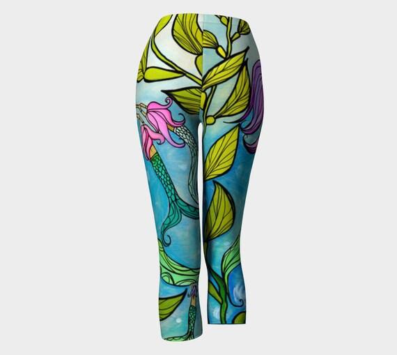 Mermaid Mama Eco Printed Capri Pants or Leggings, Mermaid Yoga Pants by Lauren Tannehill Art