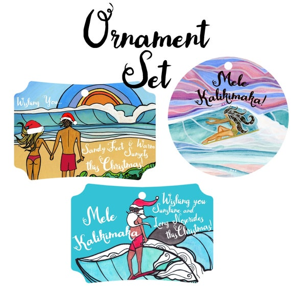 3 Beach Ornaments Surf Art Beach Lover Surfer Unique Ornaments