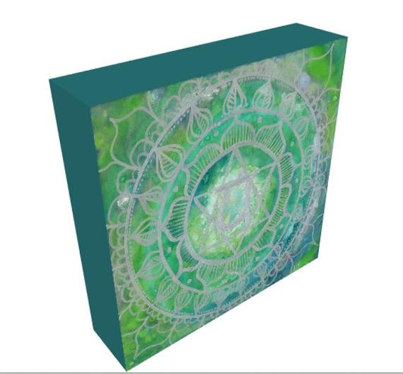 Heart Chakra Mandala Healing Art on Canvas, Yoga Studio Decor, Sacred Geometry Art made with Love by Lauren Tannehill ART