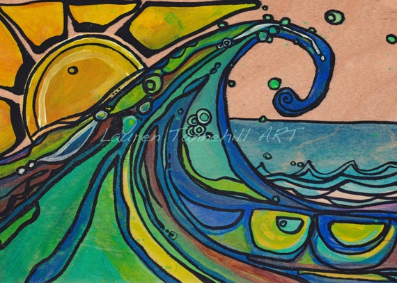 10x20 Canvas Print, Surf Art with Wave and Sun Horizontal Painting by Lauren Tannehill ART