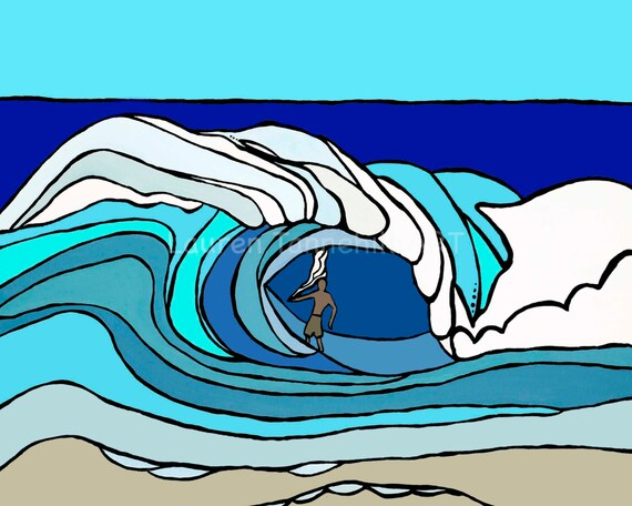 8x10 Giclee Print Surfer in Hawaii Getting Barreled Surf Art by Lauren Tannehill ART