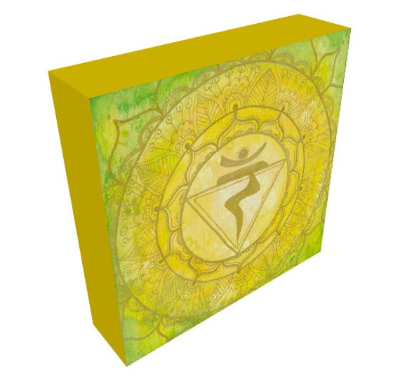 Canvas Print Solar Plexus Chakra Mandala Sacred Geometry Balancing Rainbow Yoga Art by Lauren Tannehill ART