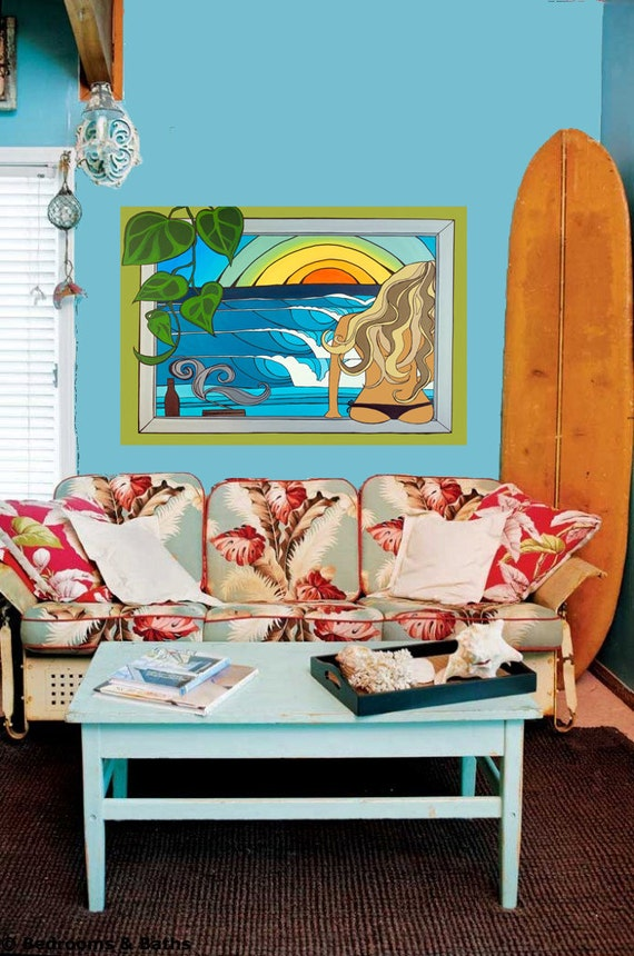 20x30 Brunette or Blonde Canvas Surfer Girl Sunset Painting in Tropical Location Canvas Print by Lauren Tannehill ART