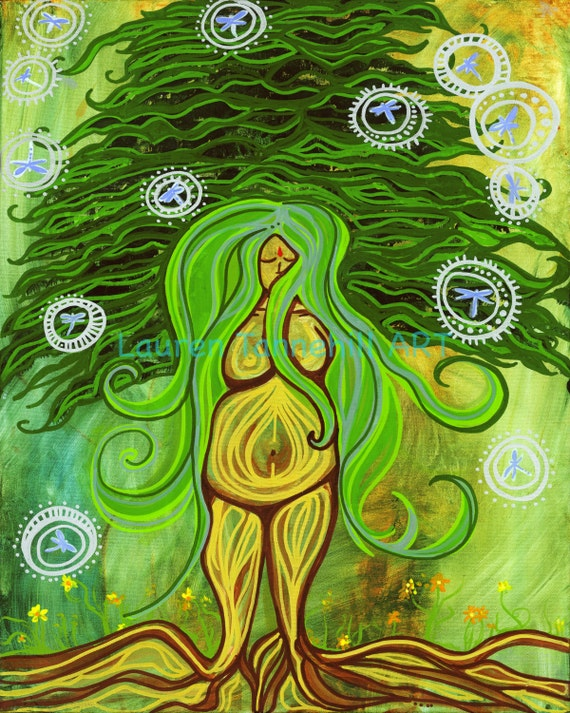 11x14 Giclee Print Pregnant Goddess Rooted Tree Birth and Labor Enlightened Art by Lauren Tannehill ART