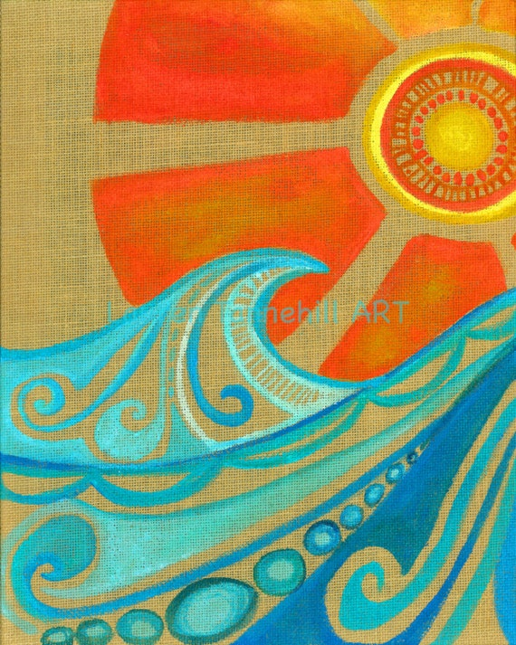 8x10 Giclee Print Burlap Abstract Waves with Sun Enlightened Surf Art by Lauren Tannehill ART