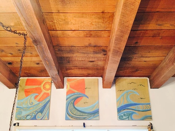 3 Triptych Canvas Print Surf Art with Burlap Background Abstract Waves Beachy Style Home Decor Three Piece Giclee by Lauren Tannehill ART