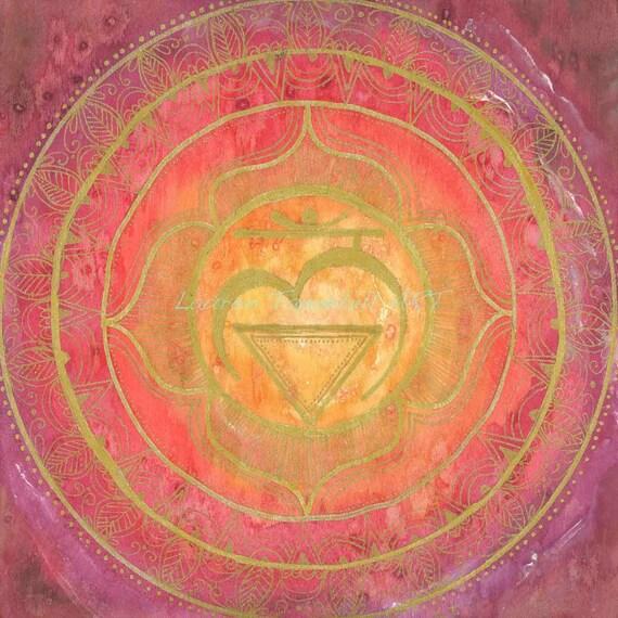 8x8 Root Chakra Mandala Print by Lauren Tannehill ART